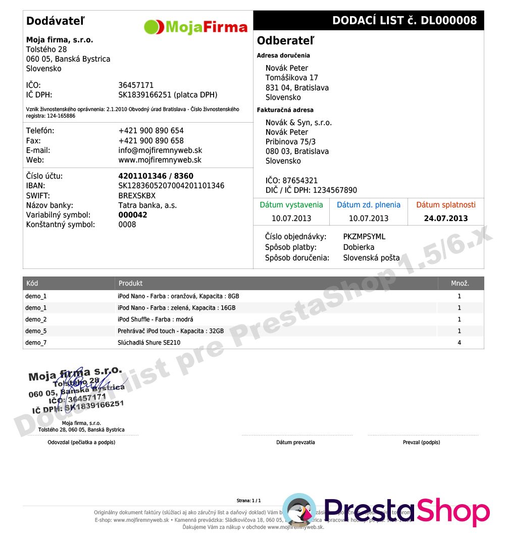 Vzor PDF dodacieho listu pre PrestaShop