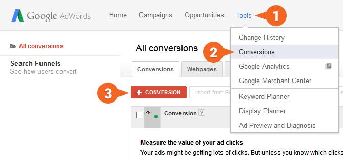 Google AdWords: Zoznam konverzií