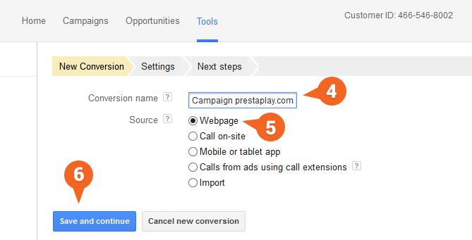 Google AdWords: Vytvorenie novej konverzie