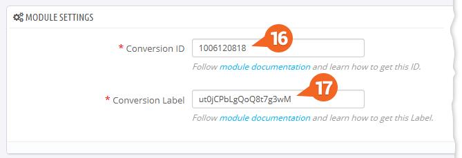 Google AdWords: Vloženie ID a Štítku konverzie do modulu