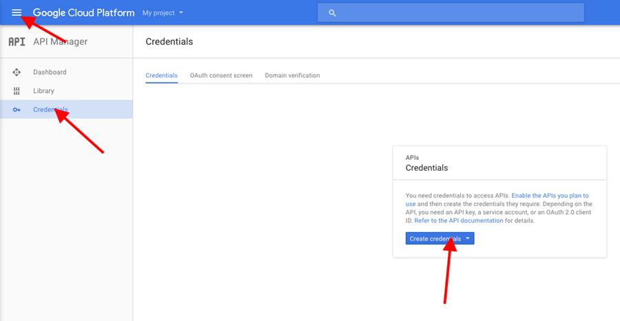 Na stránke Credentials vytvorte API kľúč