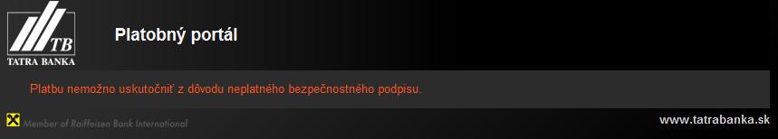 Obrázok: Chybové hlásenie platobného portálu TatraPay